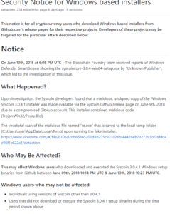 Original message from Syscoin Github page