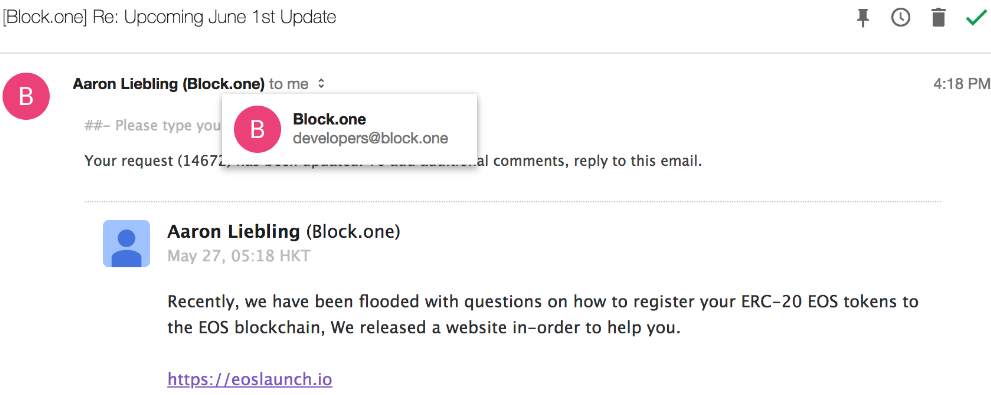 BLOCK.ONE e-mail from hacked address